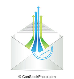 E-mail icon. Envelope mail with leader arrows