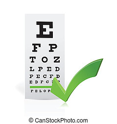 Medical Eye Chart with a checkmark Good vision concept...