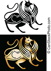 Griffin, two options - in black and gold, vector image