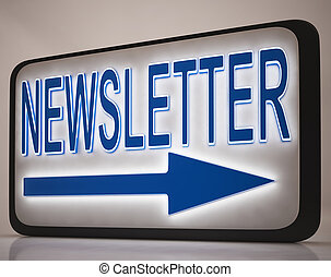 Newsletter Sign Showing News Mails Or Websites