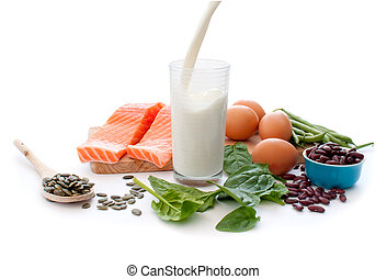 Protein diet - Protein rich foods including eggs, spinach...
