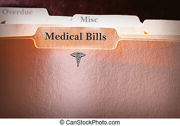 Medical Bills folder - tabbed folders with Medical Bills...