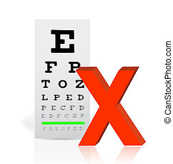 Medical Eye Chart with a x mark. poor vision concept...