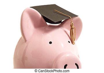 piggy cap - Piggy bank with a graduation cap, on white...