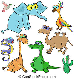 Set Of Cartoon Animals - Set of cartoon animals and cactus...