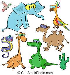 Set Of Cartoon Animals - Set of cartoon animals and cactus...