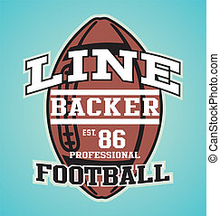 LINE BACKER - illustration for shirt printed and poster