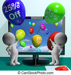 Balloons From Computer Showing Sale Discount Of Twenty Five...