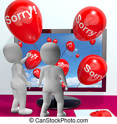 Sorry Balloons From Computer Showing Online Apology Or...