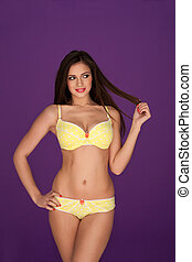 Sexy woman in yellow lingerie - Sexy woman with a lovely...