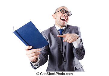 Nerd funny businessman on white