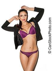 Sexy model in purple lingerie - Sexy brunette fashion model...