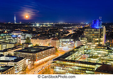 Skyline of Hannover, Germany - The night skyline of...