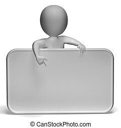 branca, em branco, sinal, tem, copyspace, e, 3D, personagem,...