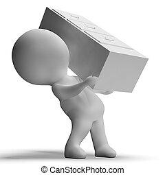 limadura, gabinete, llevado, por, 3D, carácter,...