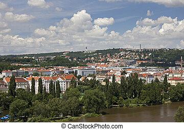 Prague - Smichov and Strahov quarters, Vltava River and...