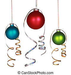 Three Christmas ornaments with gold and silver ribbons...
