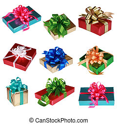 Collage of Nine colorful presents isolated on white