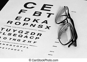 monotone eyechart - modern eyeglasses resting on eyechart...