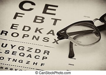old eyechart - old fashioned eyeglasses laying on top of...