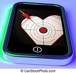 Target Heart On Smartphone Showing Love Shot Or Cupid Arrow