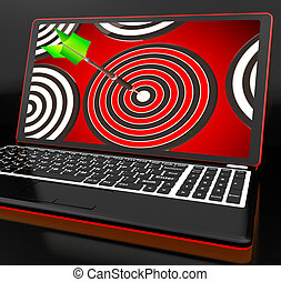Target Hit On Laptop Shows Accuracy And Perfect Shot