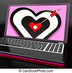Target Heart On Laptop Showing Passion And Romance