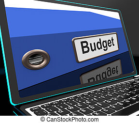 Budget File On Laptop Showing Financial Report