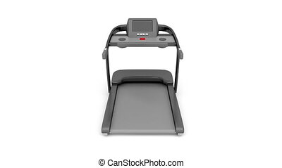 Treadmill rotates on white background
