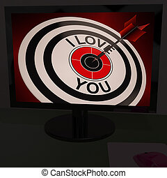 I Love You On Dartboard Shows Valentines Day