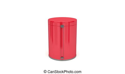 Pedal bin rotates on white background