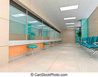 3d modern business hall - modern design interior of business...