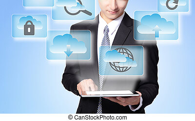 Cloud computing concept - Business man touch tablet pc with...