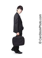 ambulante, hombre, maletín, empresa / negocio, tenencia