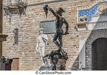 Perseus with the Head of Medusa in Florence, Italy -...