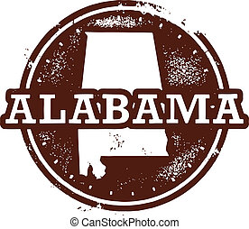 Alabama State Stamp - Vintage style Alabama USA State Seal.