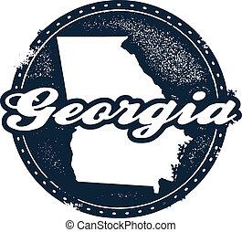 Georgia State Stamp - Vintage style Georgia USA State Stamp