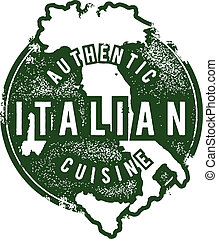 Italian Food Restaurant Stamp - Distressed vintage vector...