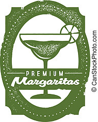 Premium Margarita Bar Stamp - Classic distressed margarita...
