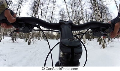 Riding a bicycle (winter)