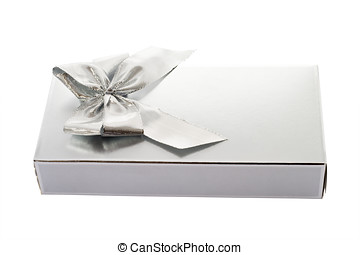 Silver gift box and bow isolated over white background