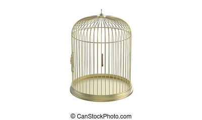Golden bird cage rotates on white background