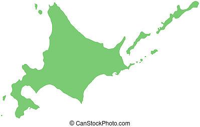 map of Hokkaido, Japan