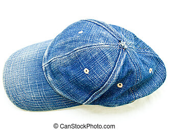 Top view of used blue jean cap isolated on white background