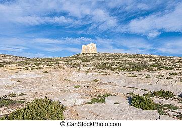 Dwajra Tower located in Gozo Island, Malta. - Dwajra Tower...