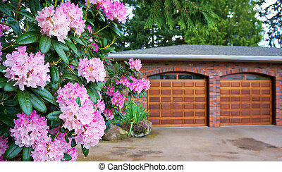 Pink rhododendron, shrub with double wooden garage door