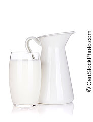 Milk jug and glass. Isolated on white background