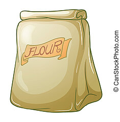 A sack of flour - Illustration of a sack of flour on a white...