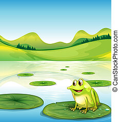 A frog above the water lilly - Illustration of a frog above...