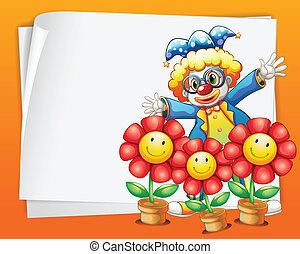 An empty paper with a clown and pots of flowers -...